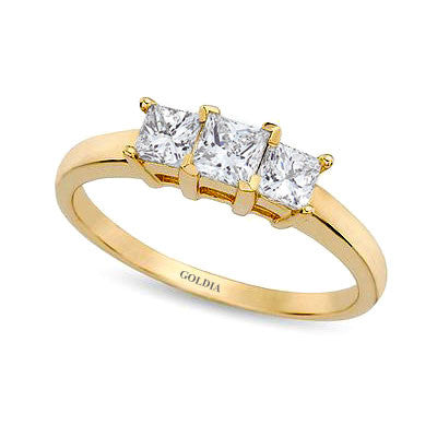 1 ct. Princess Cut Diamond Yellow Gold Three-stone Engagement Ring