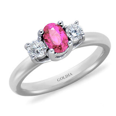 Three-Stone Oval Pink Sapphire and Diamond Ring White Gold