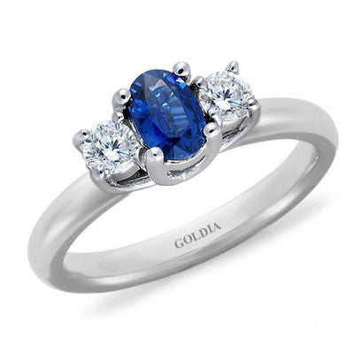 Three-Stone Oval Blue Sapphire and Diamond Ring White Gold