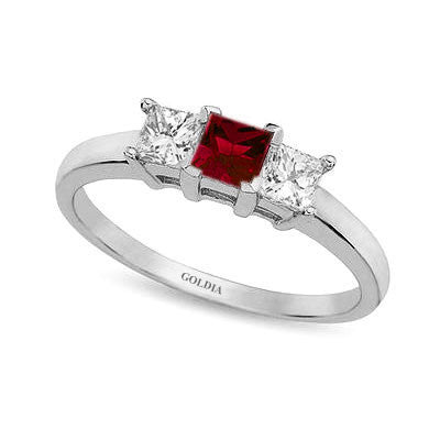 Three-Stone Princess Cut Ruby and Diamond Ring White Gold
