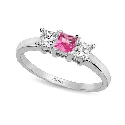 Three-Stone Princess Cut Pink Sapphire and Diamond Ring White Gold