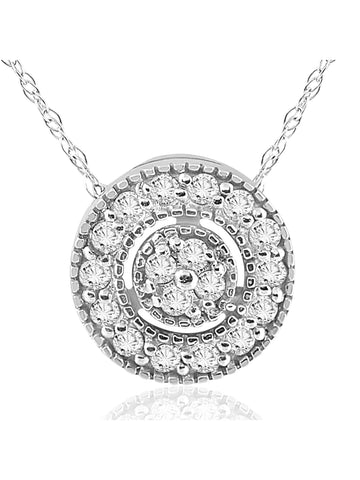 "1/4ct Natural Diamond Halo Pendant 14K White Gold Clad Silver Womens Necklace & 18"" Chain"