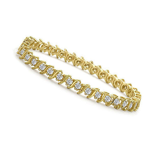 4 Ct Tw S Link Yellow Gold Diamond Tennis Bracelet