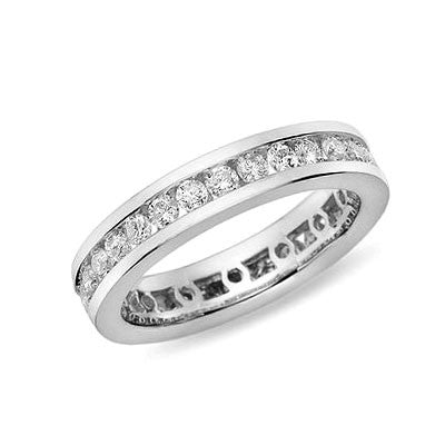 1 ct. tw. Kanal Set Diamond Eternity Band Ring 14 Karat Weißgold