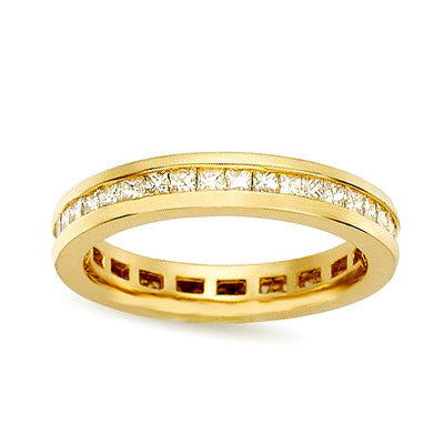 1 ct. tw. Kanal Set Princess Diamond Eternity Band Ring 14 Karat Gelbgold