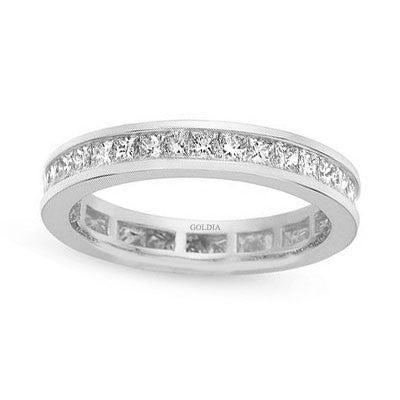 2 ct. tw. Channel Set Princess Diamond Eternity Band Ring 14K White Gold