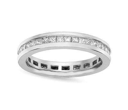 1 ct. tw. Channel Set Princess Diamond Eternity Platinum Band Ring