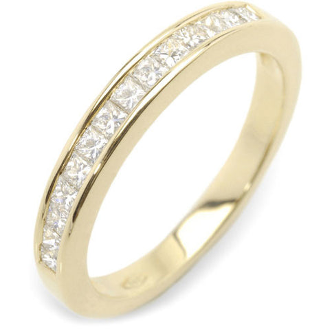 1 ct. tw. Channel Set Princess Diamond Semi-Eternity Band Ring 14K Yellow Gold