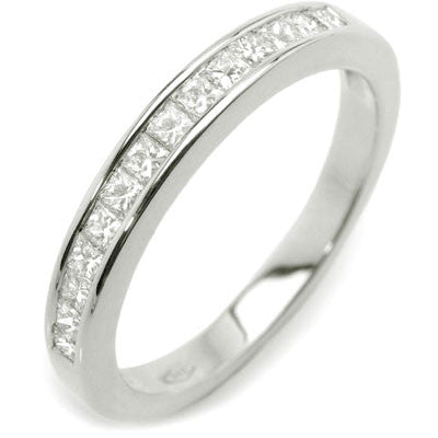 Channel Set Princess Diamond Half-Eternity Band Ring 14K White Gold