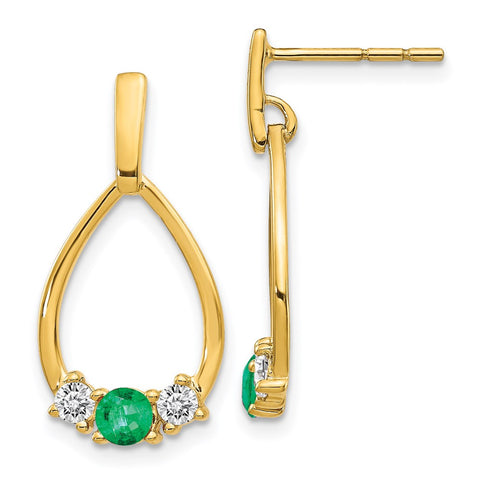 14k Yellow Gold Emerald and White Sapphire Post Dangle Earrings EM5598-EM-Y