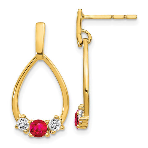 14k Yellow Gold AF. Ruby and White Sapphire Post Dangle Earrings EM5598-RU-Y