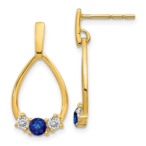 14k Yellow Gold Blue and White Sapphire Post Dangle Earrings EM5598-SA-Y