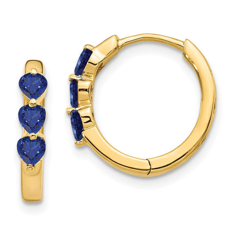 14k Yellow Gold Created Sapphire Polished Hinged Hoop Earrings EM5606-CSA-Y