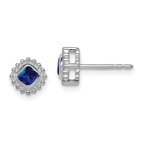 14k White Gold Cushion Sapphire Earrings EM7201-SA-W