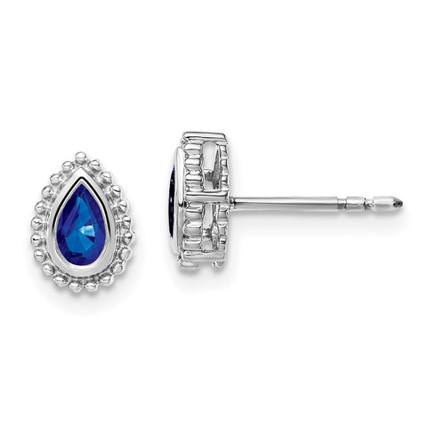 14k White Gold Pear Sapphire Post Earrings EM7203-SA-W
