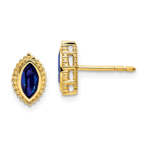 14k Yellow Gold Marquise Sapphire Post Earrings EM7204-SA-Y