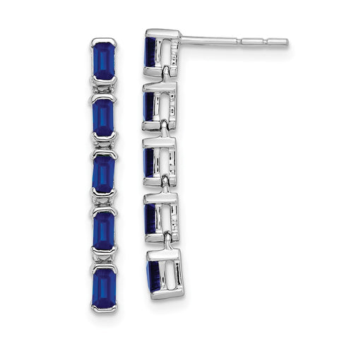 14k White Gold Sapphire 5-stone Dangle Earrings EM7224-SA-W