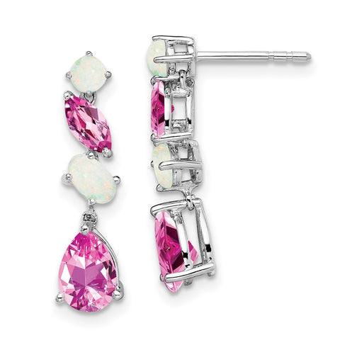 14k White Gold Created Pink Sapphire and Opal Dangle Earrings EM7458-CPS/OP-W