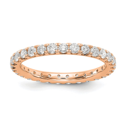Anillo de bodas de diamantes naturales de 1 ct para mujer U-Prong Eternity Band 14k Rose Gold