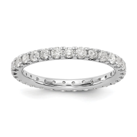 Anillo de bodas de diamantes naturales de 1 quilates para mujer U-Prong Eternity Band 14k oro blanco