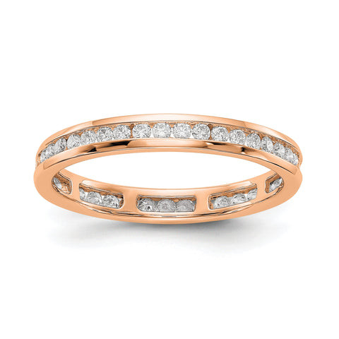 1/2 CT Channel Set Diamond Eternity Wedding Band Ring in 14k Rose Gold