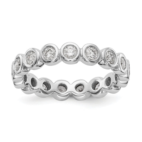1 Ct. Lünette Set Diamond Eternity Ehering Ring aus 14 Karat Weißgold