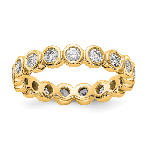 1 Ct. Lünettenset Diamond Eternity Ehering Ring aus 14 Karat Gelbgold