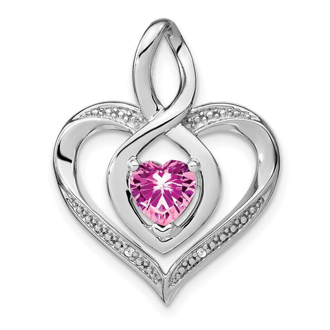 sterling silver created pink sapphire and real diamond pendant pm4440 cps 001 ssa