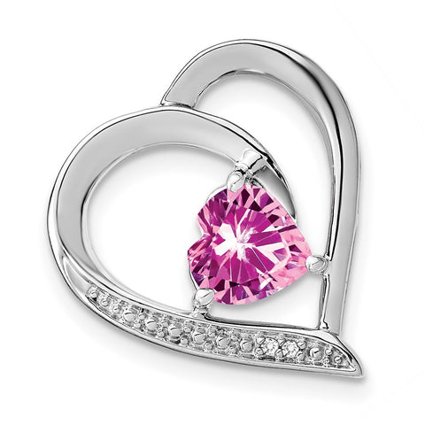 sterling silver created pink sapphire and real diamond pendant pm4441 cps 001 ssa