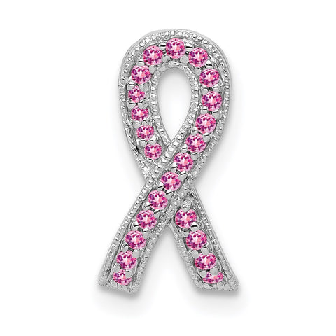 14k white gold pink sapphire awareness ribbon pendant pm5241 ps w