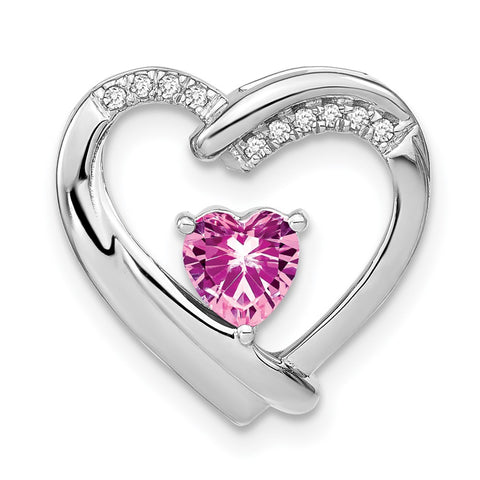 sterling silver created pink sapphire and real diamond pendant pm7018 cps 005 ssa