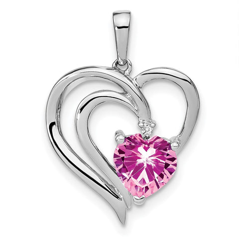 sterling silver created pink sapphire and real diamond pendant pm7025 cps 001 ssa