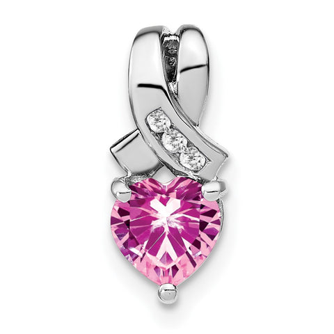 sterling silver created pink sapphire and real diamond pendant pm7401 cps 003 ssa