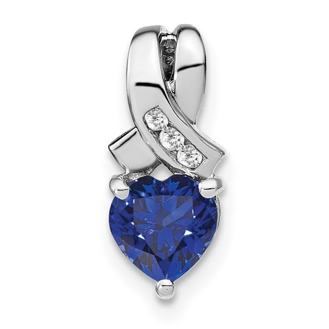 sterling silver created sapphire and real diamond pendant pm7401 csa 003 ssa