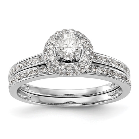 1/2 Ct. Natural Diamond Halo Bridal Engagement Ring Set in 10K White Gold