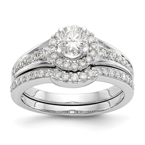 1 Ct. Natural Diamond Halo Bridal Engagement Ring Set in 10K White Gold