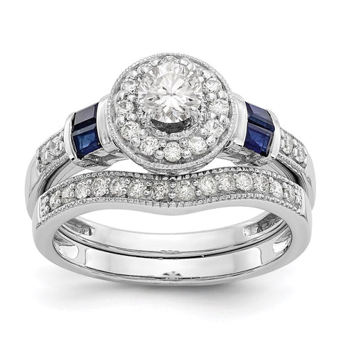 1 Ct. Natural Diamond & Blue Sapphire Halo Bridal Engagement Ring Set in 14K White Gold