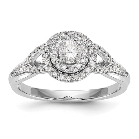 3/4 Ct. Natural Round Diamond Halo Engagement Bridal Ring 10K White  Gold