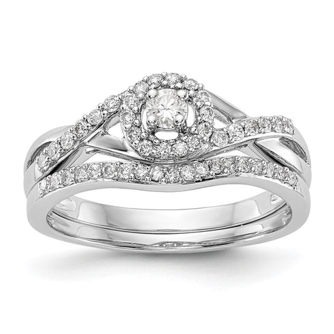 1/5 Ct. Natural Diamond Halo Infinity Bridal Engagement Ring Set in 10K White Gold