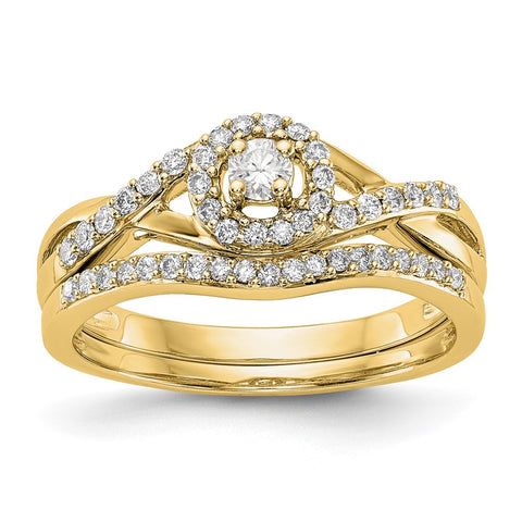 1/5 Ct. Natural Diamond Halo Infinity Bridal Engagement Ring Set in 10K Yellow Gold