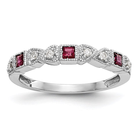 14k White Gold Diamond w/Ruby Wedding Band Ring