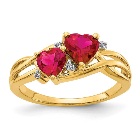 14k Lab Created Ruby and Diamond Double Heart Ring