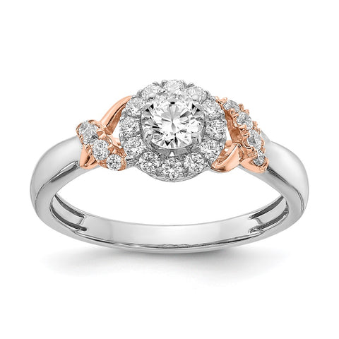 0.66 Ct. Natural Round Diamond Halo Engagement Bridal Ring 14K White & Rose Gold
