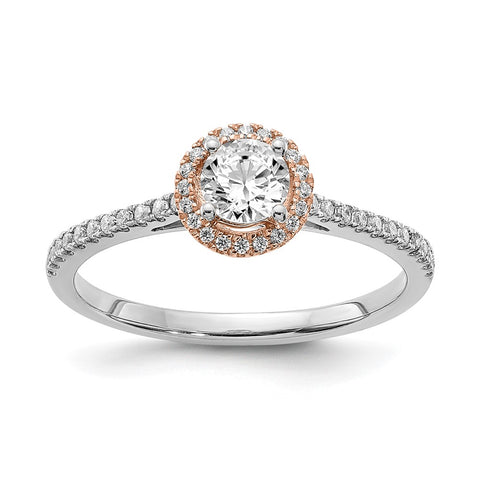1/2 Ct. Natural Round Diamond Halo Engagement Bridal Ring 10K White & Rose Gold