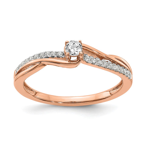 1/3 Ct. Natural Round Diamond By-Pass Engagement Bridal Ring 14K Rose Gold