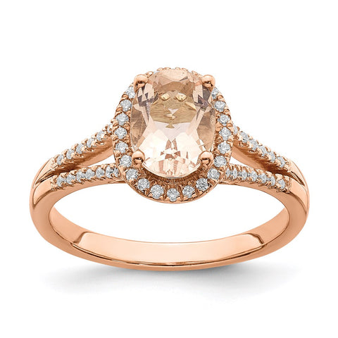 Bague de fiançailles avec halo de diamants véritable Morganite en or rose 14 carats