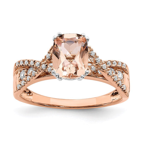 Bague de fiançailles diamant véritable Morganite en or rose 14 carats