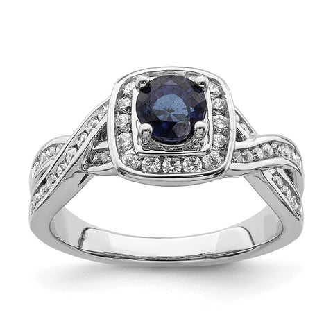 14k White Gold Sapphire Diamond Halo Engagement Ring