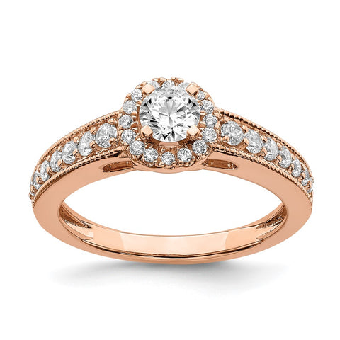 3/4 Ct. Natural Round Diamond Halo Engagement Bridal Ring 14K Rose Gold