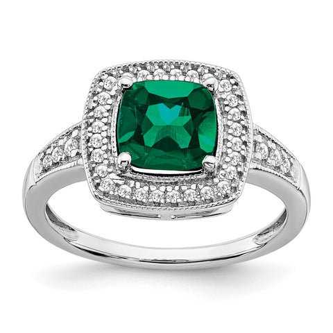 14k white gold cushion created emerald and real diamond halo ring rm7124 em 021 wa